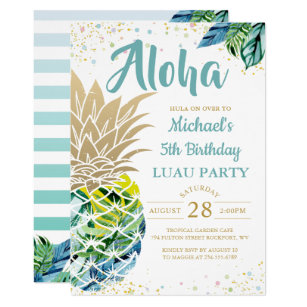 Luau birthday invitations zazzle tropical luau pineapple beach birthday invitation filmwisefo