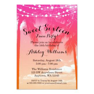Tropical Luau Pink Orange Sweet 16 Birthday Card