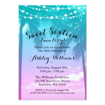 Beach Themed Tropical Luau Teal Pink Sweet 16 Birthday Card