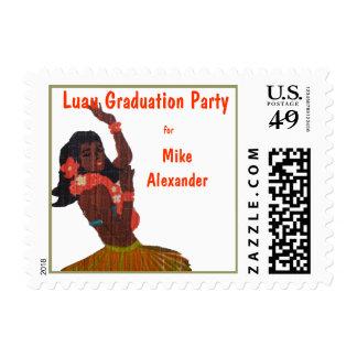 Tropical Luau Theme Retro Design Graduation Postage Stamp