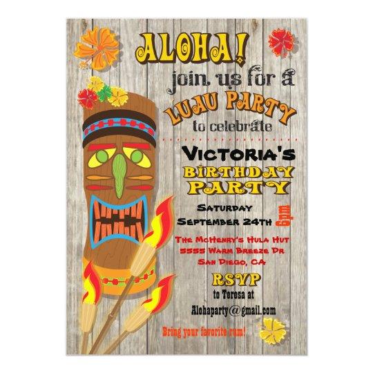 tropical luau tiki party invitations zazzle com