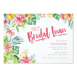 Luau bridal shower invitations zazzle tropical luau watercolor bridal shower invitation filmwisefo