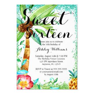 Tropical Luau Watercolor Faux Glitter Sweet 16 Card