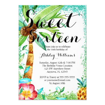 Beach Themed Tropical Luau Watercolor Faux Glitter Sweet 16 Card