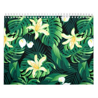 Tropical lush floral calendar
