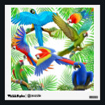 """Tropical Macaw Jungle Wall Decal<br><div class=""""desc"""">Original fine art painting of colorful macaws by avian artist Carolyn McFann of Two Purring Cats Studio printed on a quality wall decal for pet parrot lovers. Pick your size and the price will adjust.</div>"""