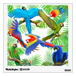 Tropical Macaw Jungle Wall Decal