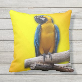 Tropical Macaw Outdoor Pillow