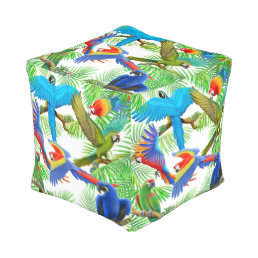 Tropical Macaw Parrot Jungle Cube Pouf