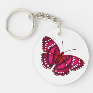 Tropical Magenta Pink Butterfly Keychain