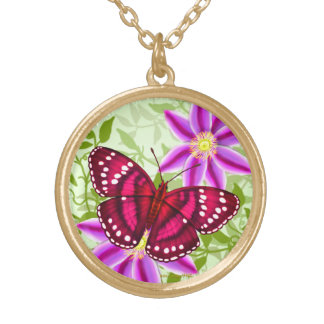 Tropical Magenta Pink Butterfly Pendant