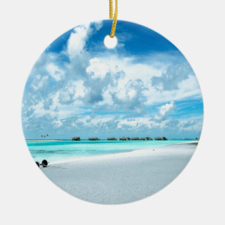 Tropical Maldives Beach Harbour Double-Sided Ceramic Round Christmas Ornament