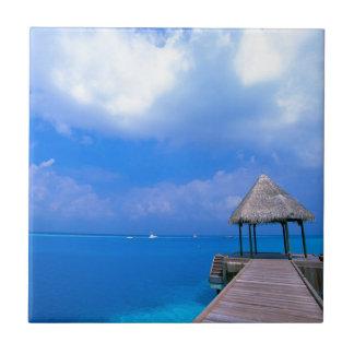 Tropical Maldives Hotel Views Ceramic Tile