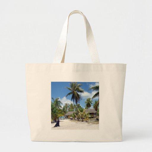 Tropical Maldives Palm Grove Shacks Tote Bag