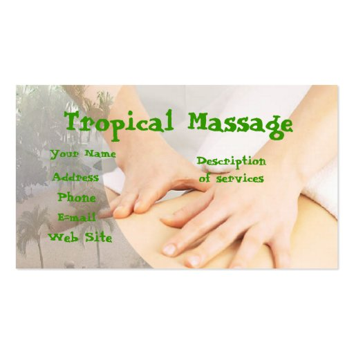 Tropical massage double sided standard business cards for Massage business card templates