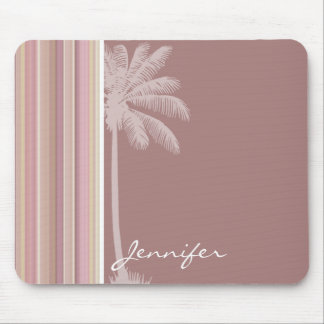 Tropical Mauve, Brown, & Green Stripes Mouse Pad