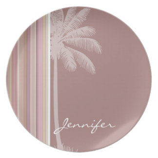 Tropical Mauve, Brown, & Green Stripes Dinner Plate