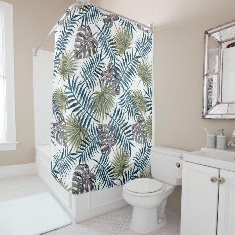 Tropical Mauve Green Palm Leaves Watercolor Art Shower Curtain