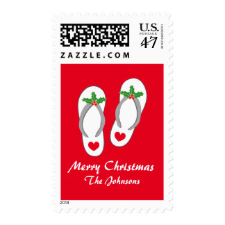 Tropical Merry Christmas beach flip flops stamps