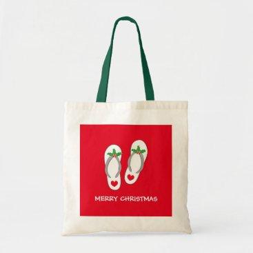 Christmas Themed Tropical Merry Christmas beach flip flops tote bag