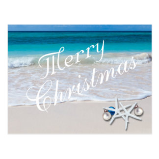 Tropical Merry Christmas Ocean Beach Postcard