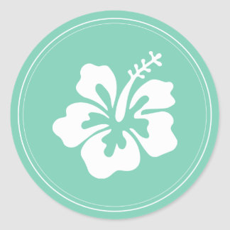 Tropical Mint Green Hibiscus Flower Wedding Favor Classic Round Sticker