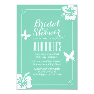 Tropical Mint Green Hibiscus Flowers Bridal Shower Card