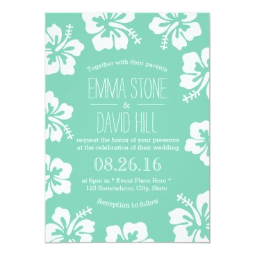 Beach Themed Tropical Mint Green Hibiscus Flowers Wedding Card
