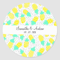 Tropical mint yellow pineapples polk dots pattern classic round sticker