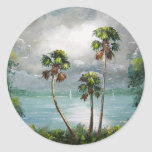 Tropical Misty Lake Round Stickers