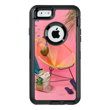 Beach Themed Tropical Modern Beach Set-Up in Pink OtterBox Defender iPhone Case