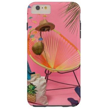 Beach Themed Tropical Modern Beach Set-Up in Pink Tough iPhone 6 Plus Case