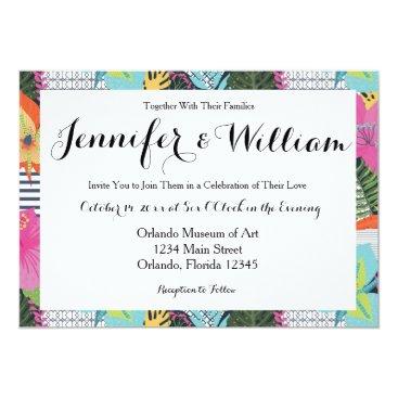 Beach Themed Tropical Modern Graphic Floral Wedding Invitation