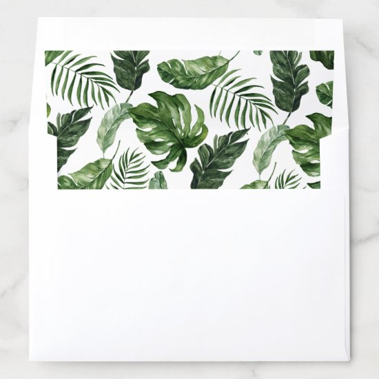 Tropical Modern Palm Banana Leaf Greenery Envelope Liner
