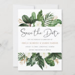 """Tropical Modern Palm Cactus White Floral Save The Date<br><div class=""""desc"""">A beautiful and modern save the date card with hand painted flowers and leaves. This elegant design will add a perfect touch to your wedding. Personalize it with your your details or add an additional wording to it!</div>"""