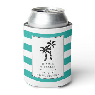 Tropical Modern Palm Trees Wedding Favor Can Cooler