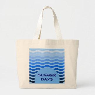 Tropical Modern Striped Ocean Waves Summer Days Jumbo Tote Bag