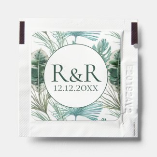 Tropical Monogram Wedding favor personalized Hand Sanitizer Packet