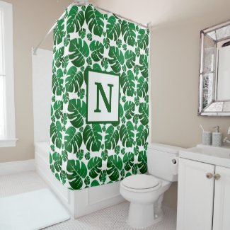 Tropical Monogrammed Hawaii Monstera Palm Leaves Shower Curtain