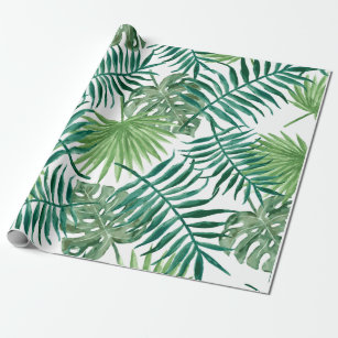 18831ae025d2 Tropical Monstera and Palm Leaves Wrapping Paper