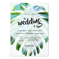Tropical Monstera Leaf Back Photo Greenery Wedding Invitation