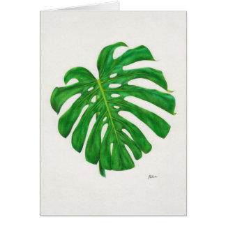Tropical Monstera Leaf Greeting Cards