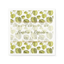 Tropical Monstera Leaves Pattern | Wedding Napkin