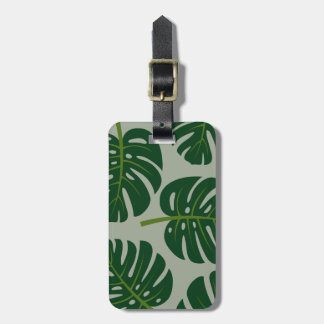 Tropical Monstera palm leaf travel luggage tags