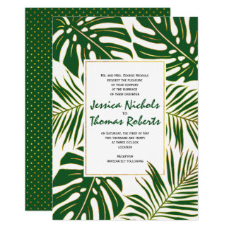 Tropical monstera, palm leaves green gold wedding card