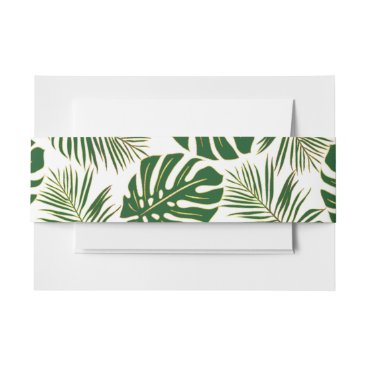 Tropical monstera, palm leaves green gold wedding invitation belly band