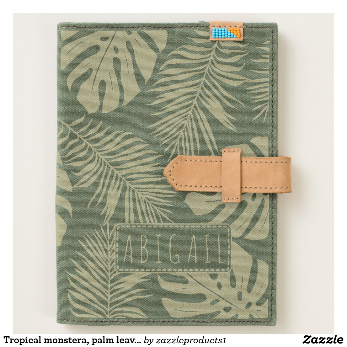 Tropical monstera, palm leaves handcrafted canvas journal