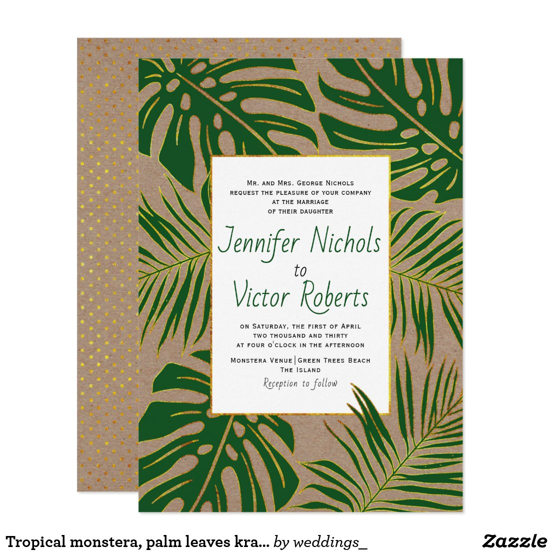 Tropical monstera, palm leaves kraft paper wedding