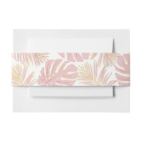 Tropical monstera, palm leaves pink gold wedding invitation belly band