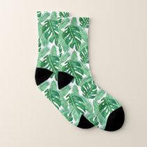 Tropical Monstera Pattern Socks